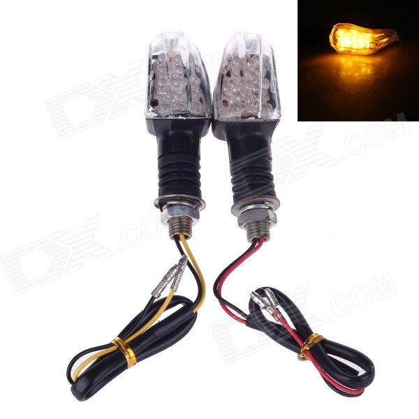 6W 120lm 560~590nm 26-LED Yellow Light Motorcycle Steering Lamps - Black + Silver (12V)