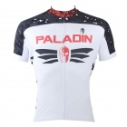 Paladinsport #6DX-S Patterned Short-sleeve Polyester Zipper Jersey for Cycling - White + Black (S)