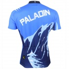 Paladinsport #3DX-S Patterned Short-sleeve Polyester Zipper Jersey for Cycling - White + Blue (S)