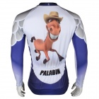 Paladinsport Patterned Long-sleeve Polyester Zipper Jersey for Cycling - White + Purple (XL)