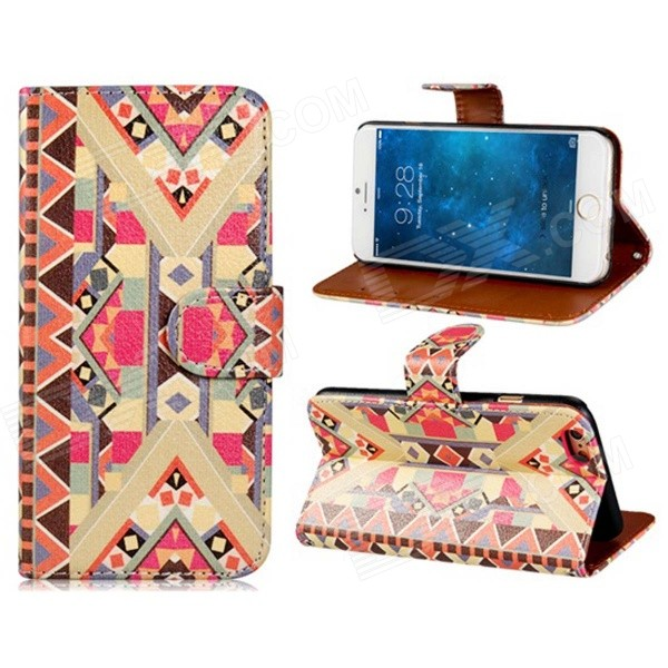 National Style Pattern Design PU Leather Flip Case with Stand and Card Slot for IPHONE 6 - Red