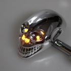 Skull Head Style 1W 4-LED 60lm Yellow Light Motorcycle Steering Lamps - Silver (12V)