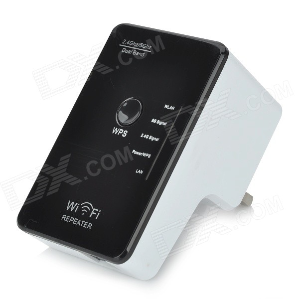 2.4 / 5GHz Wireless Dual Band UK Plug Wi-Fi Repeater - White + Black