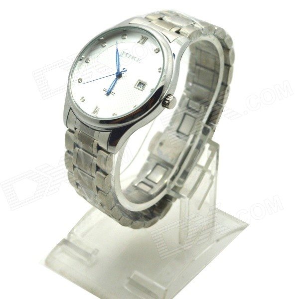 MIKE 325 Men's Business Casual Steel Band Quartz Analog Watch w/ Calendar - Silver (1 x 626)