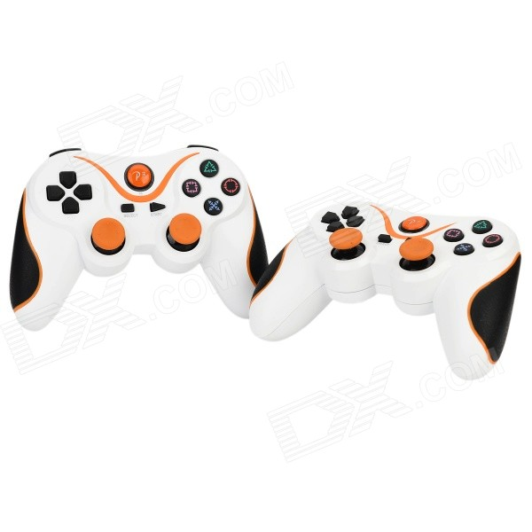 Dual-Shock Bluetooth V3.0 Controller Gamepad Joypad for PS3 / PS3 Slim - White + Orange (2 PCS)Controllers<br>Form ColorOrange + White + Multi-ColoredBrandN/AQuantity2 DX.PCM.Model.AttributeModel.UnitMaterialPCB + ABSCompatible ModelsPS3,PS3 SlimConnectionBluetoothBluetooth VersionBluetooth V3.0InfraredNoNominal Capacity500 DX.PCM.Model.AttributeModel.UnitBattery Measured Capacity 500 DX.PCM.Model.AttributeModel.UnitBattery Charging Time2HOperating Range10 DX.PCM.Model.AttributeModel.UnitInterface1 x mini USBPacking List2 x Controllers<br>