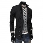 700-X47 Men's Casual Cotton Blend Double Breasted Stand Collar Suit - Black (L)