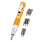 Precision Magnetic Screw Drivers 9-Piece Set with Internal Tip Storage Gold