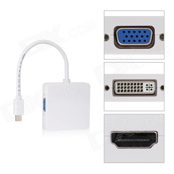 CY DP-043 Square DP Thunderbolt to DVI VGA/HDMI/HDTV Adapter - White