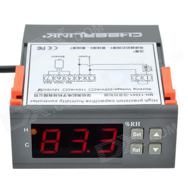 CHEERLINK MH13001 3W Microcomputer Humidity Controller (DC 12V)Other Measuring &amp; Analysing Instruments<br>Form  ColorBlack + Orange + Multi-ColoredBrandCHEERLINKModelMH13001Quantity1 DX.PCM.Model.AttributeModel.UnitMaterialABS + electronic componentsScreen Size1.7 DX.PCM.Model.AttributeModel.UnitPowered ByAC ChargerPacking List1 x Humidity controller (143cm)<br>