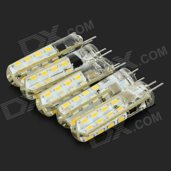 JRLED G4 3W 180lm 3200K 32-SMD 3014 LED Warm White Light Lamps - White + Beige (5 PCS / AC 220V)