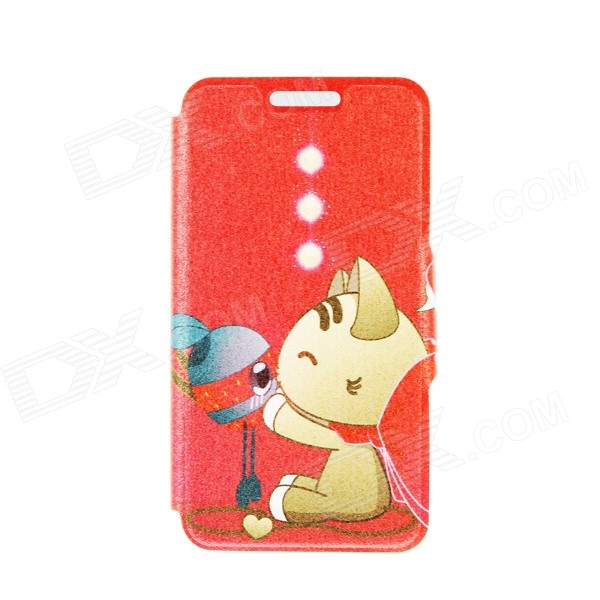 Kinston Cat & Mouse Pattern PU Leather Flip Open Case w/ Stand / Card Slot for IPHONE 6 PLUS