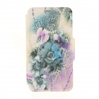 Kinston Flower + Leopard Grain Pattern PU + Plastic Case w/ Stand for IPHONE 6 PLUS - Purple + Blue