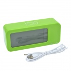"CHEERLINK 4.4"" LCD Multifunction Rechargeable Smart Clock w/ 3-Alarm / Temp. / Blacklight - Green"