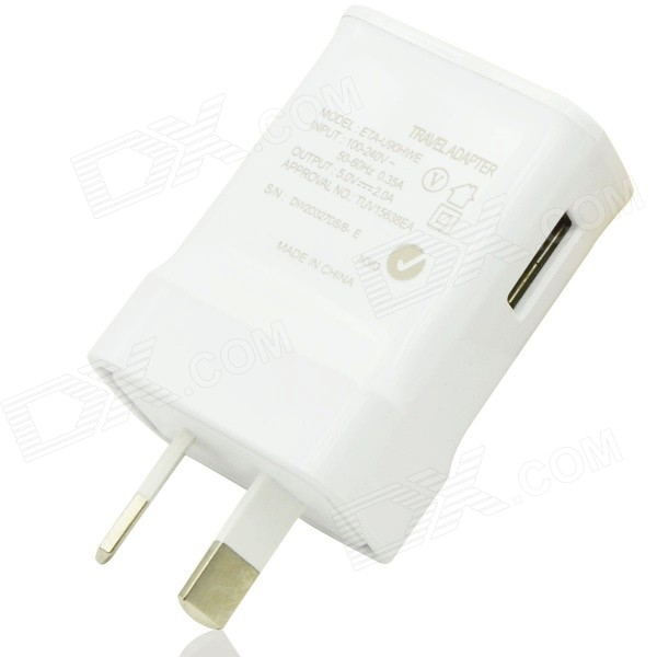 USB AU Plug Power Adapter Charger - White (AC 100~240V / 5V, 2A)