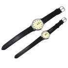 MIKE 8199 Couple's PU Leather Band Analog Quartz Wrist Watches - Black (2 PCS / 1 x 377)