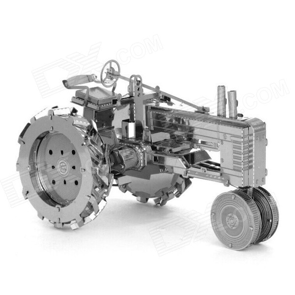 3D Stainless Steel Tractor Assembled Educational Toy for Kids / Children - Antique Silver