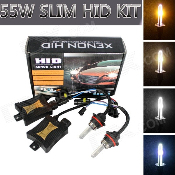9007 55W 3200lm 4300K Car HID Xenon Lamps w/ Ballasts Kit (Pair)Headlights<br>Color Temperature4300KBrandRichinoModel9007Quantity1 DX.PCM.Model.AttributeModel.UnitMaterialPVCForm  ColorWhiteTypeHID Kit SetCompatible Car ModelJapanese, Chinese, South Korean, European and American Mid-range carsTypeDCInput Voltage9~16 DX.PCM.Model.AttributeModel.UnitRate Voltage13.2VOutput Power55 DX.PCM.Model.AttributeModel.UnitTheoretical Lumens3200 DX.PCM.Model.AttributeModel.UnitActual Lumens3158 DX.PCM.Model.AttributeModel.UnitLife Span3000 DX.PCM.Model.AttributeModel.UnitSocket Type9007Working Temperature-40 ~ +105 DX.PCM.Model.AttributeModel.UnitTypeDCInput Voltage9-16 DX.PCM.Model.AttributeModel.UnitRated Working Voltage13.2 DX.PCM.Model.AttributeModel.UnitRated Working Current4.2 DX.PCM.Model.AttributeModel.UnitOutput Power55 DX.PCM.Model.AttributeModel.UnitBiggest StartingCurrent6 DX.PCM.Model.AttributeModel.UnitOperating Temperature-40 ~ +105 DX.PCM.Model.AttributeModel.UnitCertificationE4 &amp; ISO-9001:2000 ApprovedPacking List2 x Xenon Bulbs(cable 44cm)2 x Ballasts1 x Set of installation accessories (cable 144cm)<br>