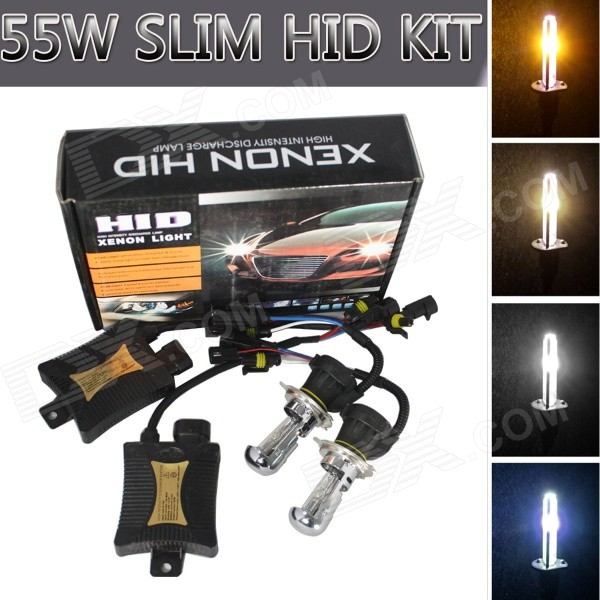 H4 55W 3200lm Car HID Xenon Lamps w/ Ballasts Kit (Pair)