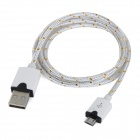 Micro USB Male to USB Male Braided Round Nylon Charging Data Cable - White (1m)