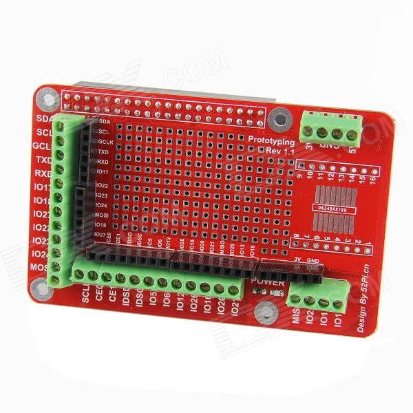 DIY Prototyping Expansion Board for Raspberry PI B+ - Red