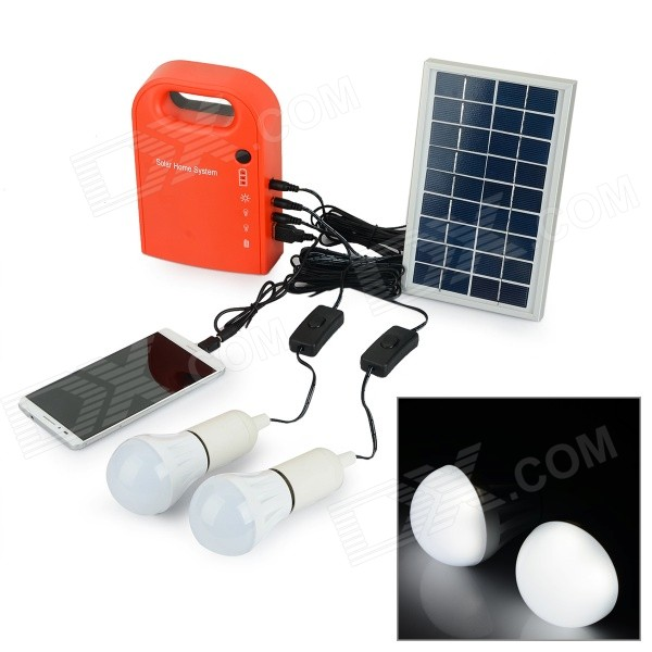 Buy Multi-functional Portable Solar Powered Generator + 2 LED Bulbs + Solar Panel Set - Dull Red + Black with Litecoins with Free Shipping on Gipsybee.com