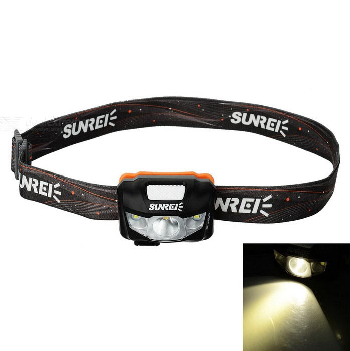 SUNREE Waterproof 162lm 4-Mode Warm Yellow Light LED Sports Headlamp - BlackHeadlamps<br>Form  ColorBeige + Dark GreyBrandSUNREEQuantity1 DX.PCM.Model.AttributeModel.UnitMaterialABS + PCEmitter BrandOthers,N/ALED TypeXP-G2Emitter BINR4Color BINOthers,Warm yellowNumber of Emitters3Working Voltage   5 DX.PCM.Model.AttributeModel.UnitPower SupplyBuilt-in 1800mAh lithium batteryCurrent450 DX.PCM.Model.AttributeModel.UnitActual Lumens162 DX.PCM.Model.AttributeModel.UnitRuntime5~120 DX.PCM.Model.AttributeModel.UnitNumber of Modes4Mode ArrangementHi,Mid,Low,Fast StrobeMode MemoryNoSwitch TypeForward clickySwitch LocationHeadLensPlasticReflectorAluminum TexturedBand Length60 DX.PCM.Model.AttributeModel.UnitCompatible CircumferenceAdjustableBeam Range120 DX.PCM.Model.AttributeModel.UnitCertificationCE, RoHSPacking List1 x Headlight1 x Pouch1 x Micro USB cable (67cm)1 x Multi-language user manual<br>