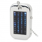 HZ-462 Fashion Digital Solar Movement Blue LED Pocket Watch - Silvery White + Black (1 x CR2032)