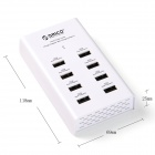 ORICO DUB-8P-BK 8 Ports 2.4A Super Charger for Tablet PC / Cellphone - White (US Plugs)