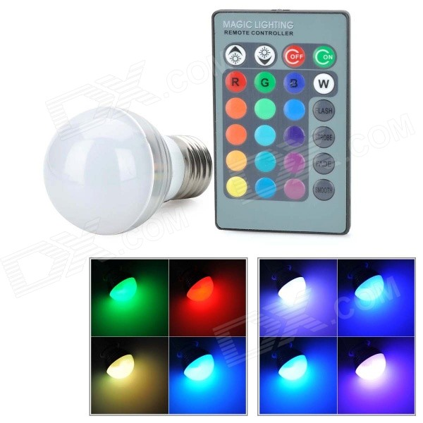 Buy E27 3W LED Globe Bulb RGB Remote Controller with Litecoins with Free Shipping on Gipsybee.com