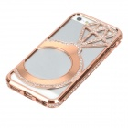 Hollowed Diamond Ring Pattern Titanium Frame Case for IPHONE 5 / 5S - Bronze