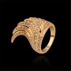 Crown Shaped Gold Plating Rhinestone Inlaid Finger Ring - Golden (Size 9)