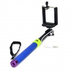 Universal Aluminum Alloy + Silicone Selfie Retractable Monopod w/ Phone Holder - Blue + Black