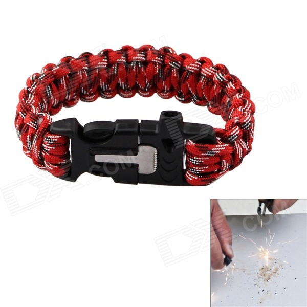 Outdoor Survival Nood Touw Armband W / Flintstone - Rood + Wit
