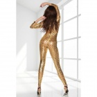 Sexy Cool Car Show Girl Style Deep V-Neck Bodycon Jumpsuit - Golden