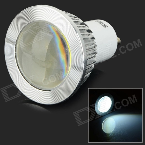 JRLED GU10 3W 300lm 6500K COB LED White Light Spotlight - White + Transparent (AC 85~265V)