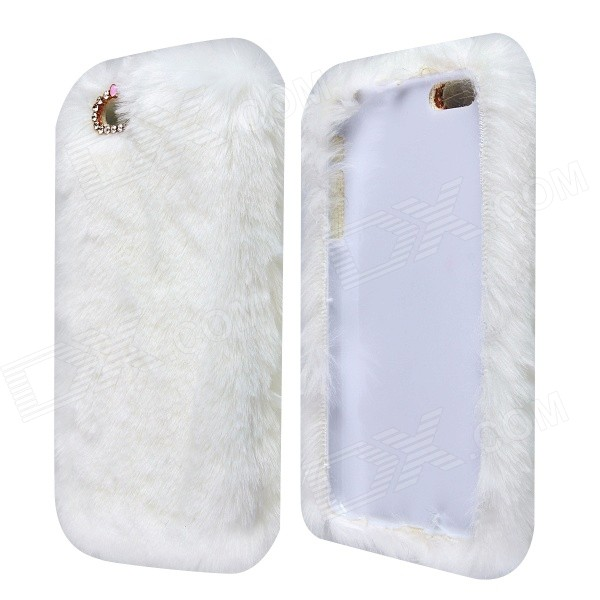 "Stylish Plush Fur Style PC Protective Case for IPHONE 6 PLUS 5.5"" - White"