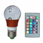 JIAWEN® 3W E27 LED RGB Light Remote Control Crystal Lamp - White + Reddish Brown (AC 100~220V)