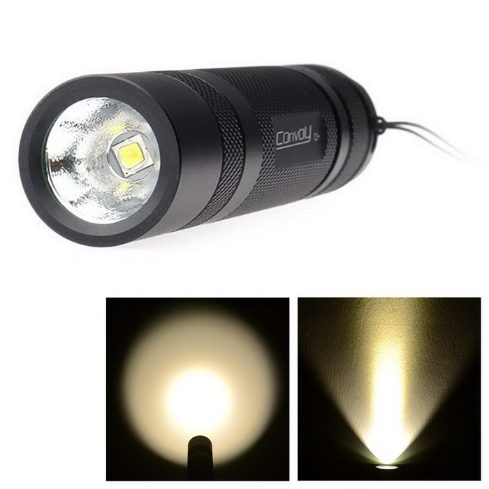 Convoy S2+ 925lm 2-Group 3/5-Mode Warm White LED Flashlight - Black