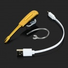 Portable Mini Bluetooth V3.0 Ear-hook Music Headset w/ Mic. - Black + Gold