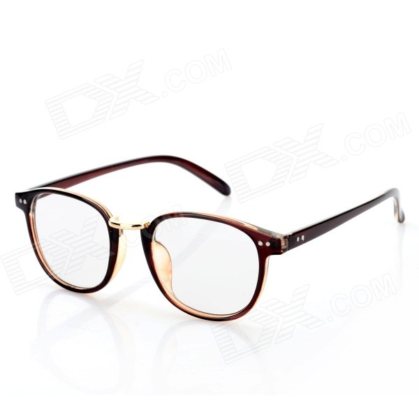 Buy Fashion PC Frame Round Resin Lens Myopia Glasses - Tan with Litecoins with Free Shipping on Gipsybee.com