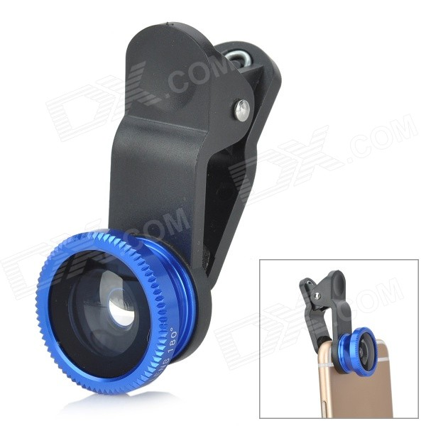 Clip-On Fish Eye + 0.67X Macro Lenses Set for Cell Phone - Black + BlueLens &amp; Microscopes<br>Form  ColorBlack + BlueBrandN/AQuantity1 DX.PCM.Model.AttributeModel.UnitMaterialABS + aluminum alloyShade Of ColorBlackCompatible ModelsUniversalLens EffectsFish eyeMagnificationOthers,0.67XPacking List1 x Fish eye lens1 x 0.67X macro lens1 x Clip 2 x Lens covers 1 x Pouch<br>