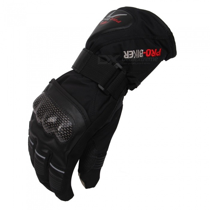 PRO-BIKER Motorcycle Thickened Warm Waterproof Racing Gloves - Black (Pair / Size L)Motorcycle Gloves<br>Form  ColorBlackSizeLBrandPRO-BIKERModelDXMS-08Quantity1 DX.PCM.Model.AttributeModel.UnitMaterialPU leather + nylon + polyesterShade Of ColorBlackTypeOthers,GlovesWaterproofYesHand Around20-21 DX.PCM.Model.AttributeModel.UnitPalm Width10 DX.PCM.Model.AttributeModel.UnitWristadjustablePacking List1 x Pair of gloves<br>