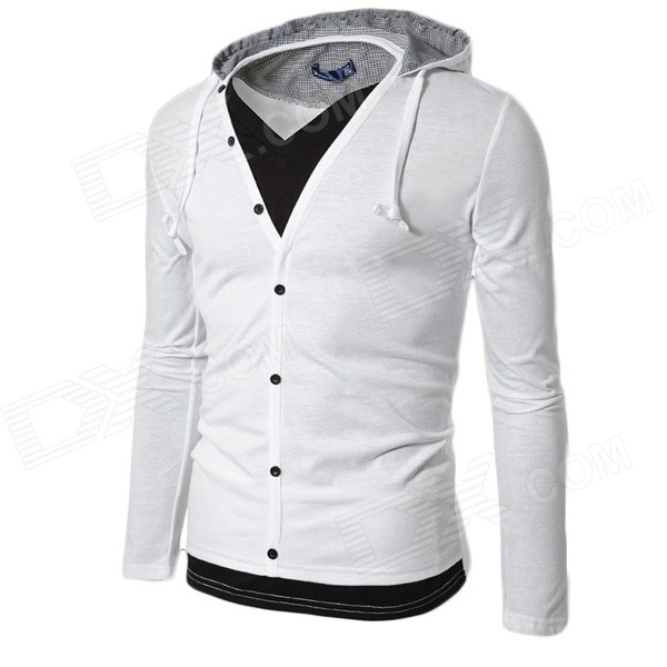 1414-wy44 Two-Piece Style Men's Leisure Cotton Blended Hoodie Jacket - White (XL)