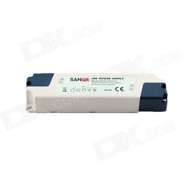 35W 12V 2.9A Switching Power Supply Driver for LED Strip Light - WhiteOther Accessories<br>BrandN/AModelPC35-W1V12MaterialPlasticForm  ColorWhiteQuantity1 DX.PCM.Model.AttributeModel.UnitWater-proofNoInput VoltageAC 100~240 DX.PCM.Model.AttributeModel.UnitOutput VoltageDC 12 DX.PCM.Model.AttributeModel.UnitWorking Temperature-20~60 DX.PCM.Model.AttributeModel.UnitOutput Current0~2.9 DX.PCM.Model.AttributeModel.UnitInput Current0.27 DX.PCM.Model.AttributeModel.UnitRated Working VoltageDC 12 DX.PCM.Model.AttributeModel.UnitWorking Current2.9 DX.PCM.Model.AttributeModel.UnitPacking List1 x LED power supply driver<br>