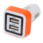 BL-020 Universal Dual-Port USB Car Charger Adapter - White + Orange