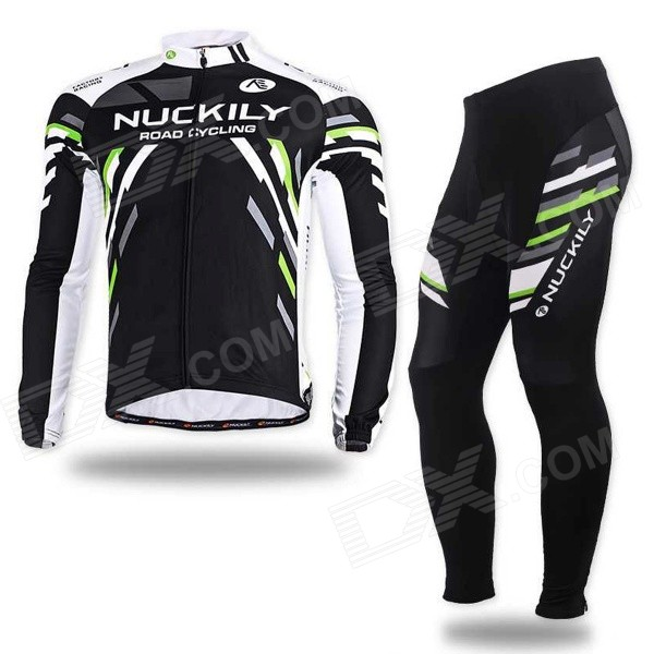 NUCKILY MC005 MD005 Men's Long Sleeves Jersey + Pants Set - Black + Multi-Color (XL)