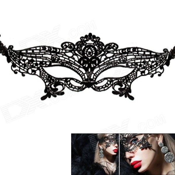 Buy Women's Sexy Seductive Lace Face Mask for Halloween Costume Makeup Party - Black with Litecoins with Free Shipping on Gipsybee.com