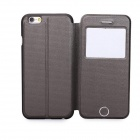 Protective Flip-Open PU Case Cover w/ View Window / Stand / Button for IPHONE 6 - Brown