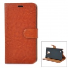 Protective PU Leather Case w/ Holder + Card Slot + Magnetic Button for Samsung Note 4 - Brown