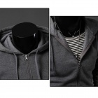 2014 New Men's Cotton Blend Hooded Vest Waistcoat - Dark Gray (XL)